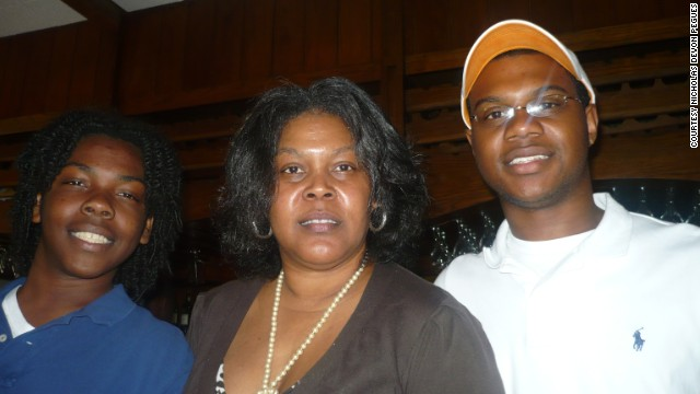 Marilyn Hegman-Davis' sons Aaron Davis, left, and Nicholas Pegues took her to brunch at Paulette's Restaurant in Memphis in 2010. Paulette's is a a family favorite, Pegues said, and his mom was pleased her sons remembered how much she loved it, and surprised her with a meal there.