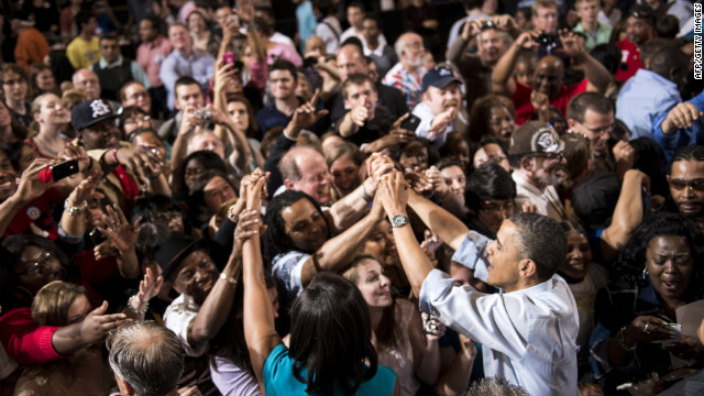 President Obama and first lady Michelle Obama campaign in Columbus, Ohio, on May 5.