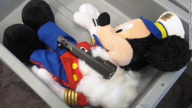 Authorities found the parts for a loaded handgun inside three stuffed toys at an airport security checkpoint in Rhode Island.