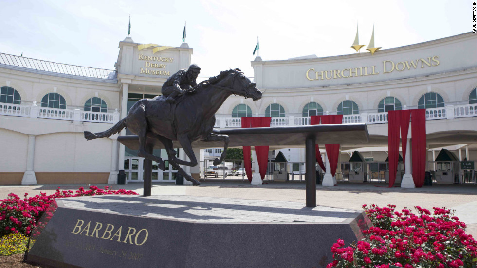 A statue of Barbaro takes pride of place at Churchill Downs. The bay colt captured the hearts of the American public when he won the Kentucky Derby by seven lengths in 2006 -- but then dramatically broke down in the Preakness Stakes, the second leg of thoroughbred racing's Triple Crown. <i>Words and pictures by CNN's Paul Devitt.</i>