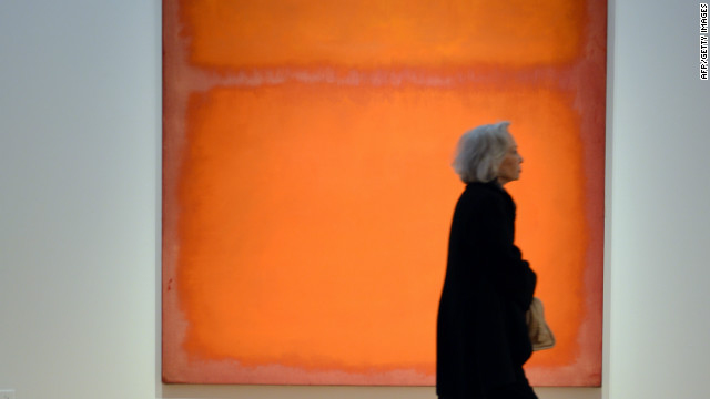 Mark Rothko's &quot;Orange, Red, Yellow&quot;, 1961, seen on display at Christie's in New York on May 4, 2012 before its sale of a record $87 million for a work for post-war art.