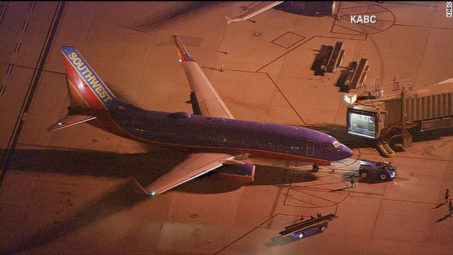 Southwest Airlines Flight 811 is held at John Wayne Airport in Santa Ana, California, on Tuesday night.