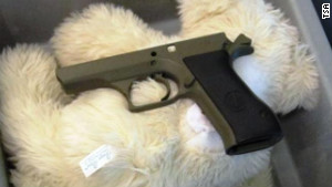 TSA officers detected a disassembled firearm in three stuffed animals in a child's carry-on bag.