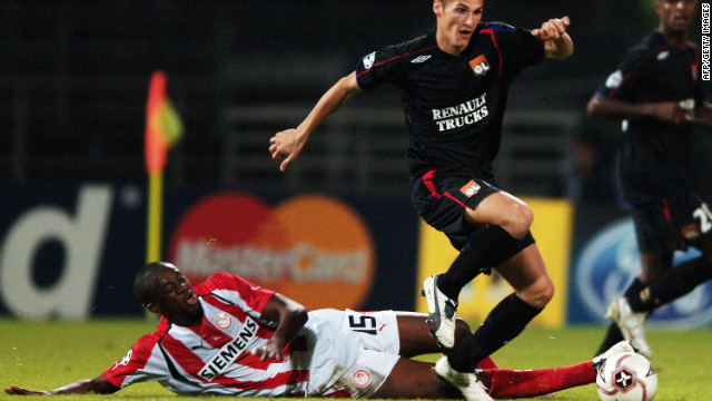 Toure has played in the European Champions League for several seasons, and is pictured here on duty for Greek club Olympiakos against Lyon in 2004.
