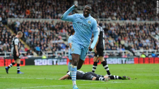 Yaya Toure's two goals against Newcastle put Manchester City in pole position to clinch the English Premier League title. The club's last domestic championship came in 1968. 