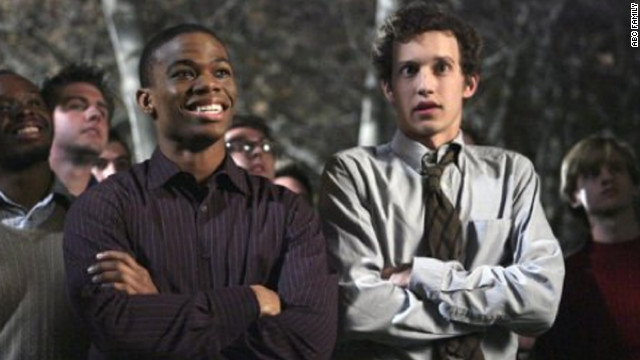 """Greek's"" Calvin Owens, left, played by Paul James, originally struggled to come out to his Omega Chi fraternity brothers on the show, which aired on ABC Family from 2007 to 2011."