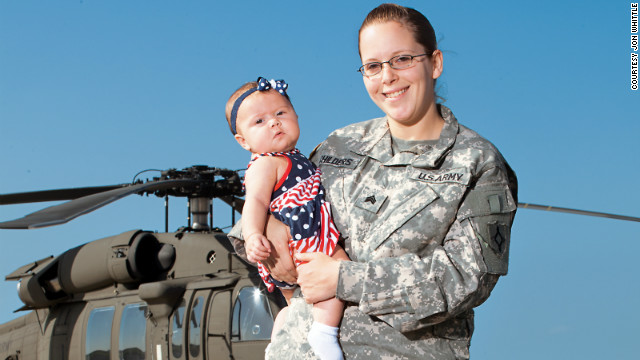 Cari Childers is a new mom and mechanic for the Black Hawk helicopters used for patrol, transportation and flight training.