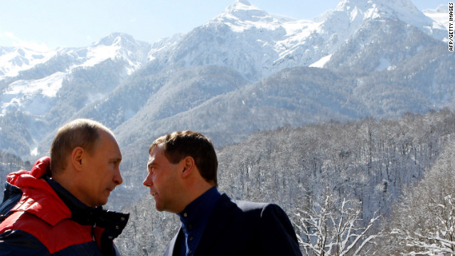 Vladimir Putin and Dmitry Medvedev visit a ski resort close to Sochi where the 2014 Winter Olympics will be held.