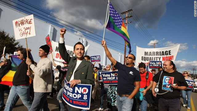 Supporters of same-sex marriage organized by Latino activists march in ...