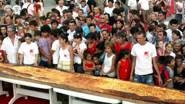 Khachapuri, a bread pastry filled with cheese, is a staple food in Georgia. In central Batumi last year, an 8-meters-long khachapuri, was baked using 100 eggs, 90 kilograms of cheese and 150 kilograms of flour.