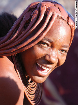 The Himba women of northern Namibia are famous for their use of <i>otjize</i>, a paste of butter, fat and red ochre, which they apply to their hair and skin.