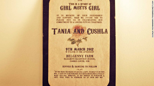 "Guests were invited to the event with the words ""this is a story of girl meets girl"" typed in a retro font to fit their theme. <a href='http://twobirdsnest.com/' target='_blank'>Twobirdsnest.com</a>"