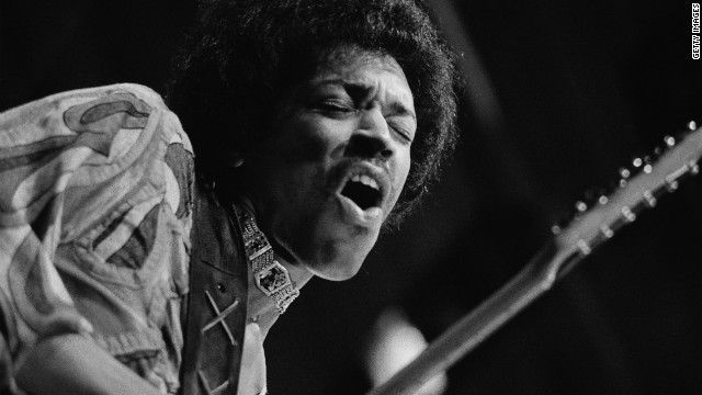 Jimi Hendrix performs at the Isle of Wight Festival in 1970.