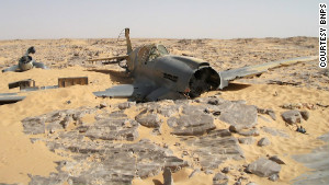 A Royal Air Force P-40 Kittyhawk sits in the Egyptian Sahara. The plane crashed on June 28, 1942, and was found in 2012.