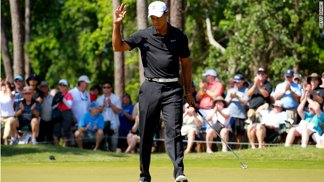 Woods missed the cut at Quail Hollow last weekend but found some form when it counted at Sawgrass
