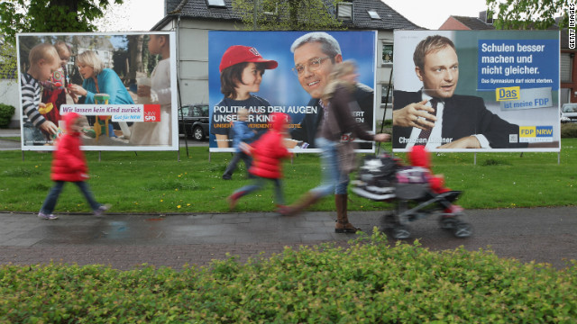 Campaign posters adorn the streets of Erkelenz ahead of an election in the German state of North Rhine-Westphalia