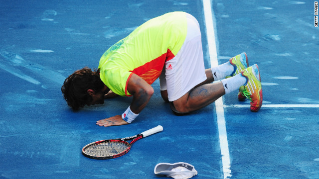 "Fernando Verdasco kisses the blue clay in Madrid after beating world No. 2 Rafael Nadal in a huge upset. ""I never was in control of the match, I didn't know how to win a point,"" said Nadal, who is the modern era's ""King of Clay."" <br/><br/>"