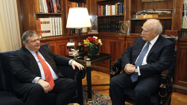 Greek President Karolos Papoulias (right) pictured with Socialist PASOK party leader Evangelos Venizelos on Thursday.