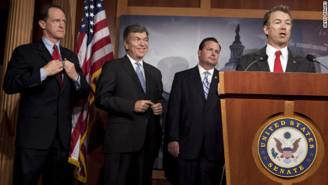 GOP Sen. Rand Paul speaks during last summer's budget crisis, which David Frum cites as an example of GOP irresponsibility.