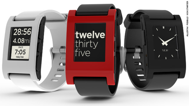 The $150 Pebble waterproof watch has a black-and-white, e-paper screen, which can be customized with specially designed watch faces. It connects to iOS and Android smartphones over Bluetooth and vibrates to notify the wearer of incoming calls, e-mail, texts and other alerts. There are also downloadable music and sports apps.