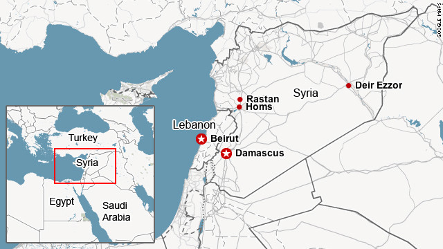 Map shows area of most recent clashes