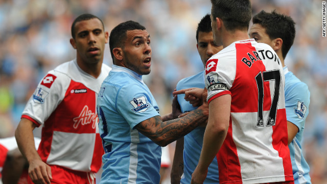 54 minutes: With City looking shell-shocked, QPR captain Joey Barton is sent off after a clash with Carlos Tevez.