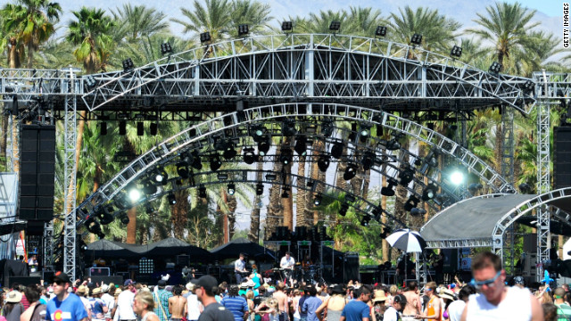 Musicians Oscar Cash and Joseph Mount of the band Metronomy perform during Coachella 2012.