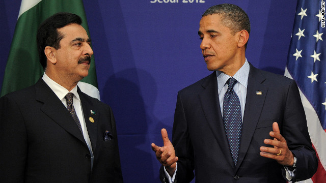 President Obama talks with Pakistan's Prime Minister Yousuf Raza Gilani. Pakistan has accepted NATO's invitation to the Chicago summit.