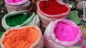 An array of colored powders adorn this stall in Chandni Chowk
