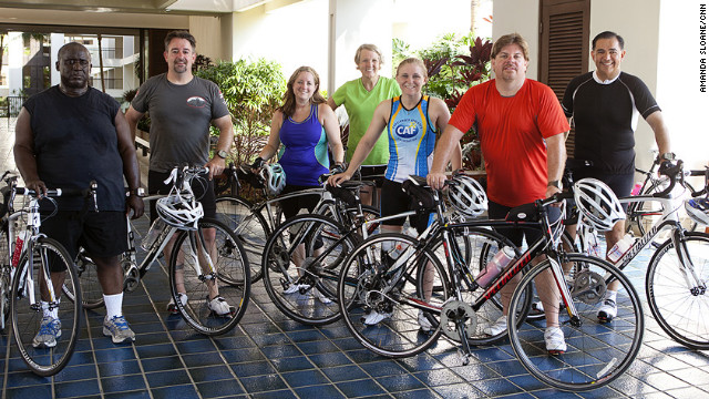 The &quot;Lucky 7&quot; strike a pose after a training ride. From left: Glenn Keller, Rick Morris, Adrienne LaGier, Nancy Klinger, Denise Castelli, Jeff Dauler and Carlos Solis.
