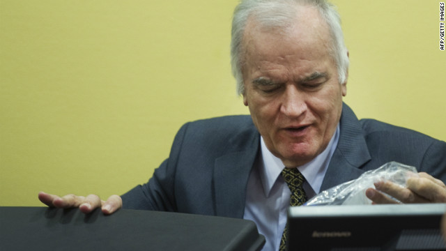 Ratko Mladic pictured at the start of his trial.