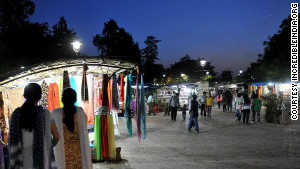 Dilli Haat market at night