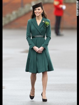 Kate donned a belted emerald coat by Emilia Wickstead on St. Patrick's Day in Aldershot, England. She accessorized her ensemble with a gold shamrock brooch -- a royal heirloom, according to<a href='http://www.telegraph.co.uk/news/uknews/theroyalfamily/9150267/Duchess-of-Cambridge-presents-St-Patricks-Day-shamrock-to-Irish-Guards.html' target='_blank'> The Telegraph.</a>