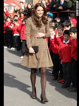 Kate wore a printed Orla Kiely coatdress while visiting Rose Hill Primary School in Oxford. That day,<a href='http://www.luckymag.com/blogs/luckyrightnow/2012/02/Kate-Middletons-Printed-Orla-Kiely-Coat-Four-Similar-Options-You-Can-Buy-Right-Now#slide=1' target='_blank'> Lucky magazine</a> reported that the jacket had already sold out in stores and online.