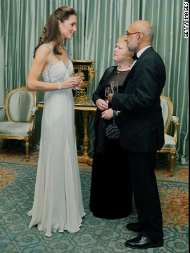 Kate wore an Amanda Wakeley gown to a reception at London's Clarence House on October 26 2011.