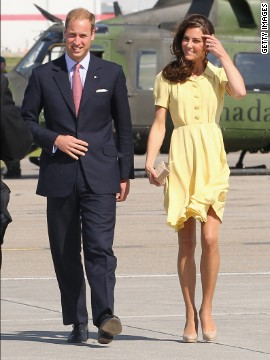 Kate almost had a wardrobe malfunction when the pair arrived in Calgary that day. The skirt of her canary yellow Jenny Packham dress kept blowing up in the wind.