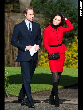 Kate, dressed in a red coat, and her then-fiancé visited the University of St. Andrews in Fife, Scotland, in February 2011. The couple met while studying at the university.