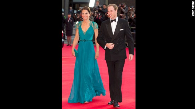 The Duchess of Cambridge stunned in a Jenny Packham gown on May 11 at an event hosted by the British Olympic Association. The teal number, complete with a lace back, is just one of her many noteworthy looks.