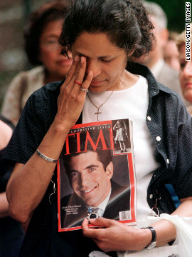 A woman cries at a public memorial Mass in New York for John F. Kennedy Jr. in 1999. He died in a plane crash off the coast of Martha's Vineyard in Massachusetts. His wife and sister-in-law were also killed.