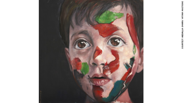 "Abdalla Omari's oil paintings, such as ""Syrian Child,"" showing a boy with the colors of the Syrian flag painted on his face, tackle complex psychological states fraught with emotion."