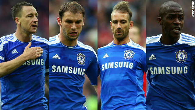 Chelsea's dramatic semifinal win over defending champions Barcelona came at a cost as Terry (left) was sent off, and Branislav Ivanovic, Raul Meireles and Ramires picked up yellow cards to also be ruled out of the final.