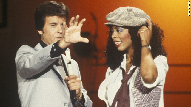 Summer appears with Dick Clark on &quot;American Bandstand&quot; in 1978.