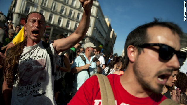 Protestors gather at Puerta del Sol square on May 15, 2012 during an anti-government rally in Madrid.