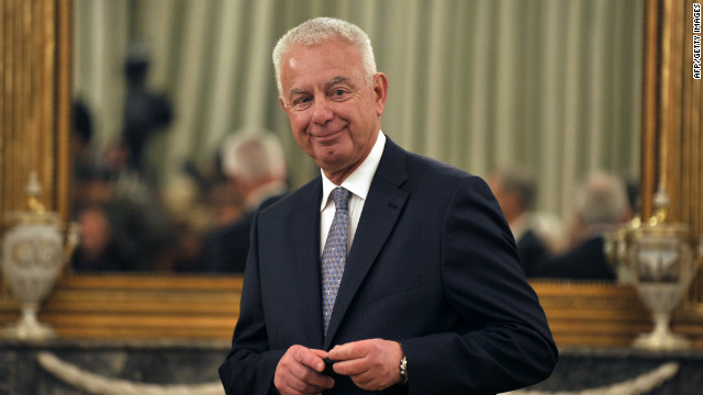 Greece's caretaker Prime Minister, Panagiotis Pikramenos, at a swearing-in ceremony in Athens on May 17, 2012. He is tasked with organizing the fresh elections.