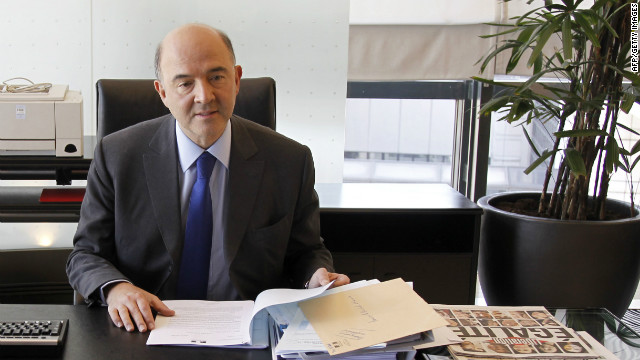 French Economy, Finance and Foreign Trade Minister Pierre Moscovici takes a seat in his office following a handover ceremony.