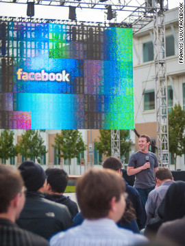 Zuckerberg speaks to his employees before officially beginning the Hackathon. He got a standing ovation.