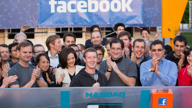 Facebook CEO Mark Zuckerberg rings the Nasdaq opening bell on May 18, 2012.. 