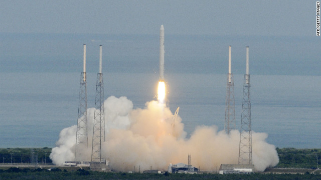 The SpaceX Falcon 9 rocket lifts off at Cape Canaveral for a test flight in 2010. SpaceX is set to make a key launch on Saturday. 