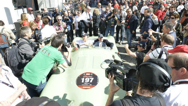 "Moss returned to Brescia this week with Jaguar for the start of the 2012 event. The 82-year-old described his experiences in the Mille Miglia as ""frightening."""