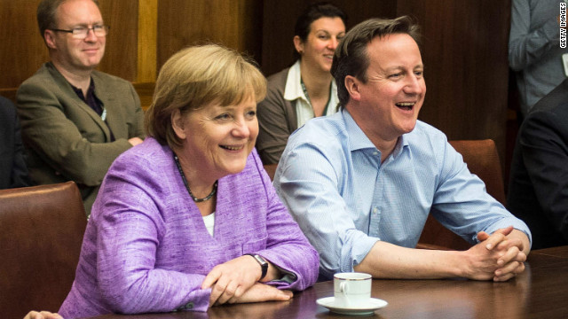 Merkel and Cameron watch the UEFA Champions League Final between FC Bayern Muenchen and Chelsea FC during the G8 Summit.